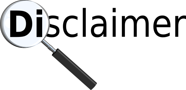 Image shows the word Disclaimer with a magnifying glass over the Di
