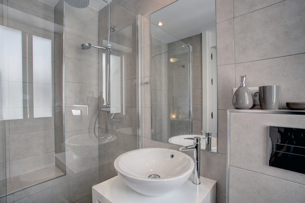 Image shows the main bathroom with walk in shower and bowl shaped basin