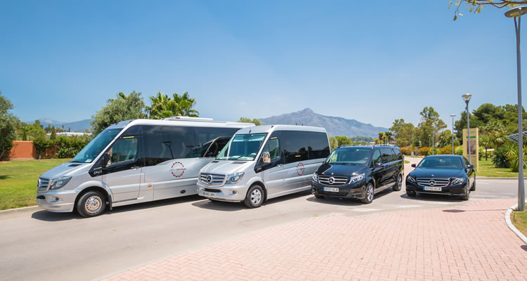 A selection of the vehicles from our partner Simply Shuttles - showing coaches, minibus, people carrier and town car