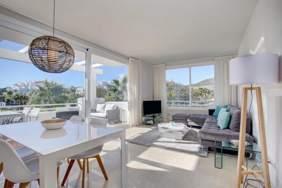 Image shows beautiful furniture large windows and stunning views