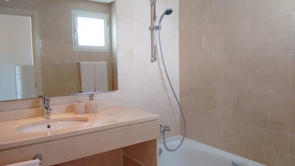 Image shows large bathroom