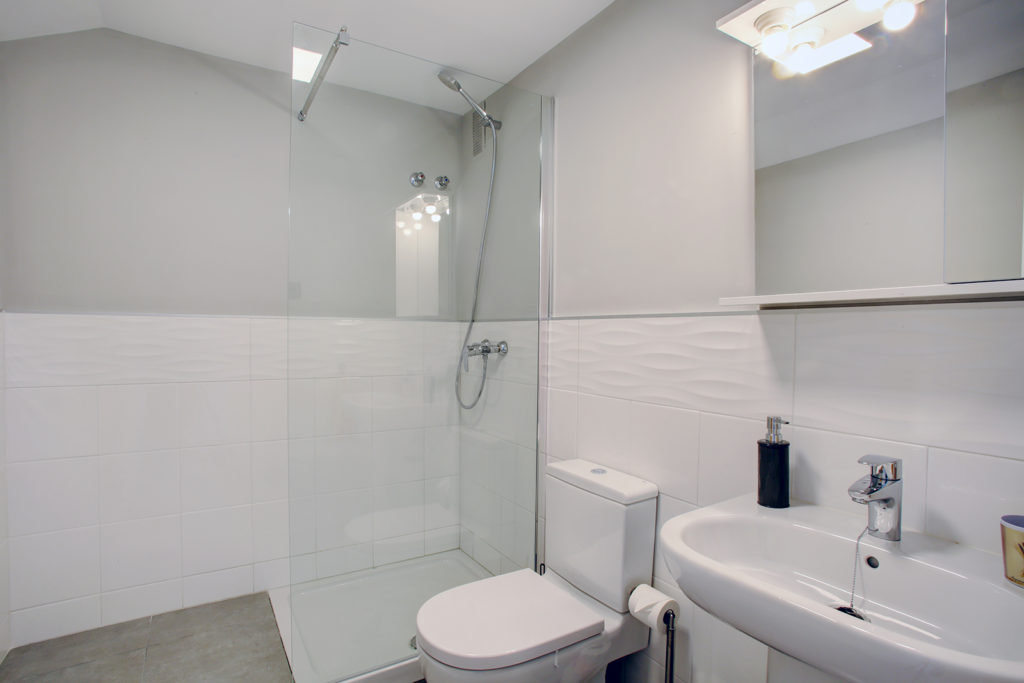 Image shows a walk in shower a basin and a toilet