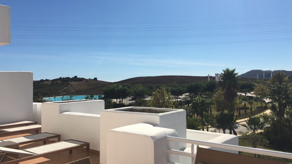Image shows the view from the terrace of this stylish penthouse in Alcazaba Lagoon